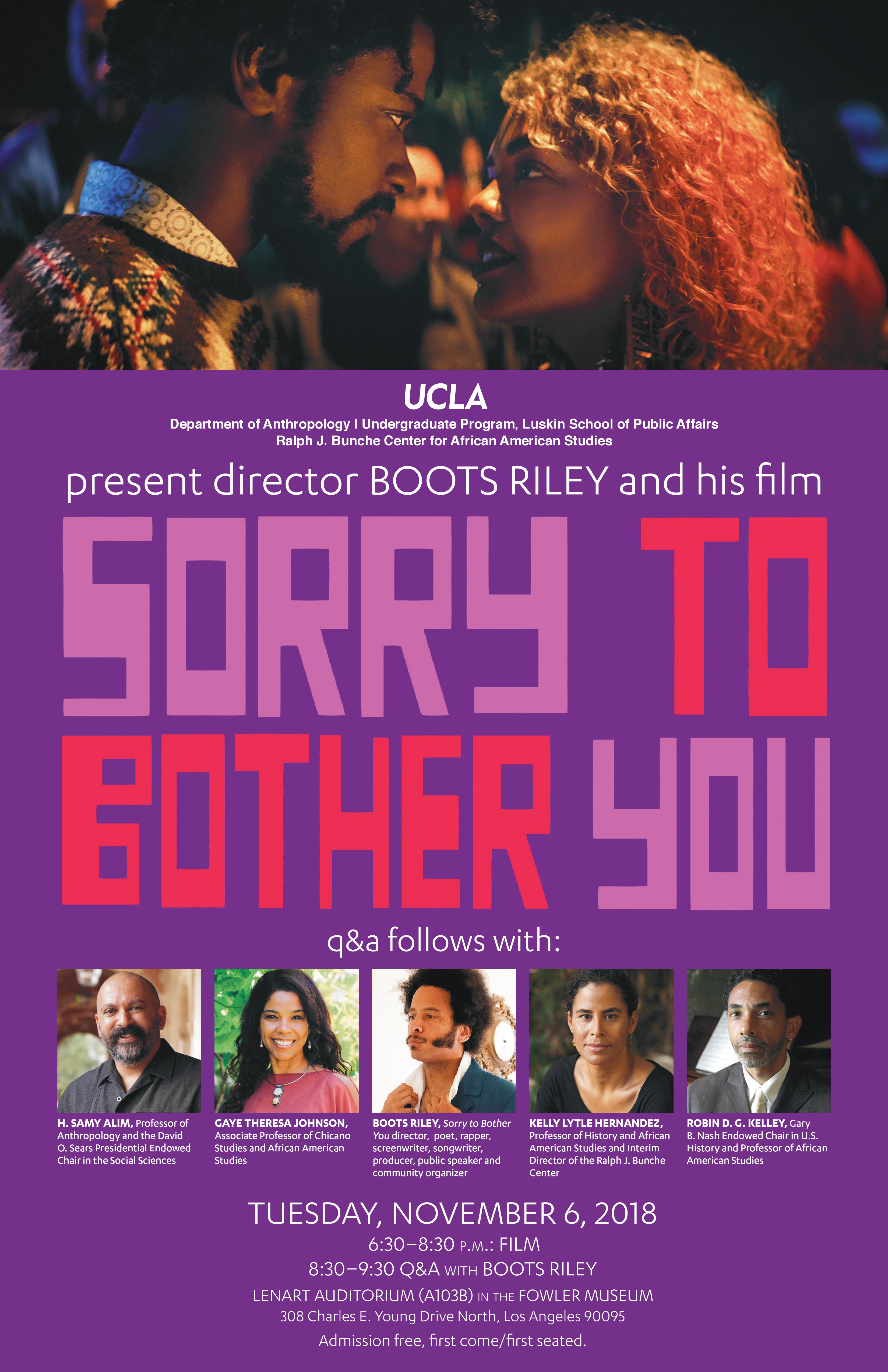 Film Screening And Q A With Director Boots Riley Of Sorry To Bother You Ucla Bunche Center